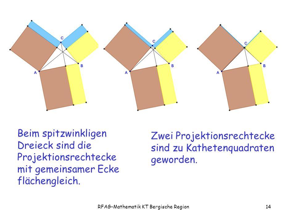 RFAG-Mathematik KT Bergische Region14 Beim spitzwinkligen Dreieck sind die Projektionsrechtecke mit gemeinsamer Ecke flächengleich.