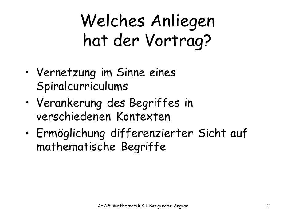 RFAG-Mathematik KT Bergische Region2 Welches Anliegen hat der Vortrag.
