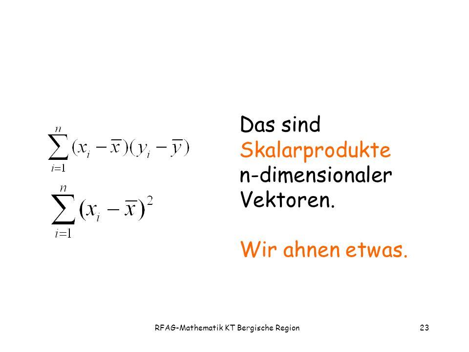 RFAG-Mathematik KT Bergische Region23 Das sind Skalarprodukte n-dimensionaler Vektoren.