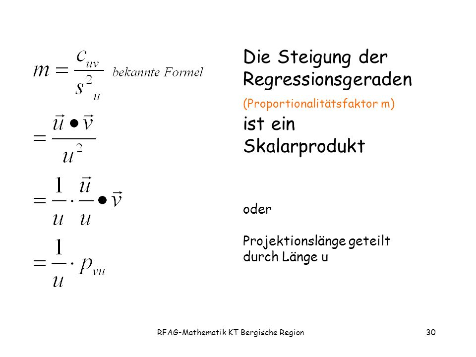 RFAG-Mathematik KT Bergische Region30 Die Steigung der Regressionsgeraden (Proportionalitätsfaktor m) ist ein Skalarprodukt oder Projektionslänge geteilt durch Länge u