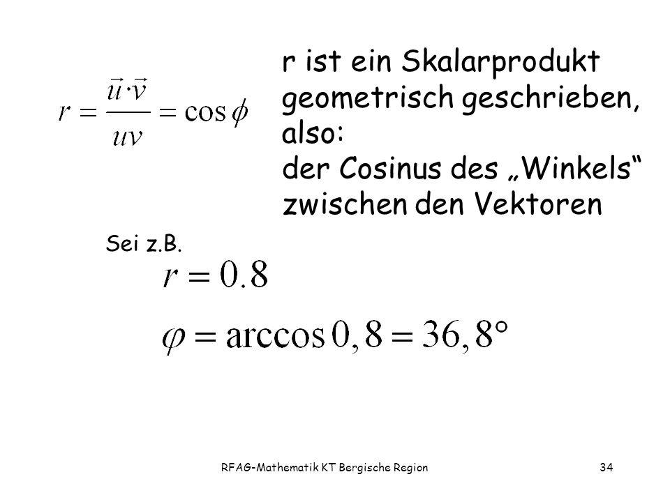 """RFAG-Mathematik KT Bergische Region34 r ist ein Skalarprodukt geometrisch geschrieben, also: der Cosinus des """"Winkels zwischen den Vektoren Sei z.B."""