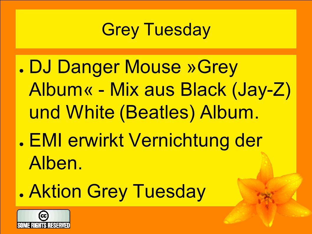 Grey Tuesday ● DJ Danger Mouse »Grey Album« - Mix aus Black (Jay-Z) und White (Beatles) Album.