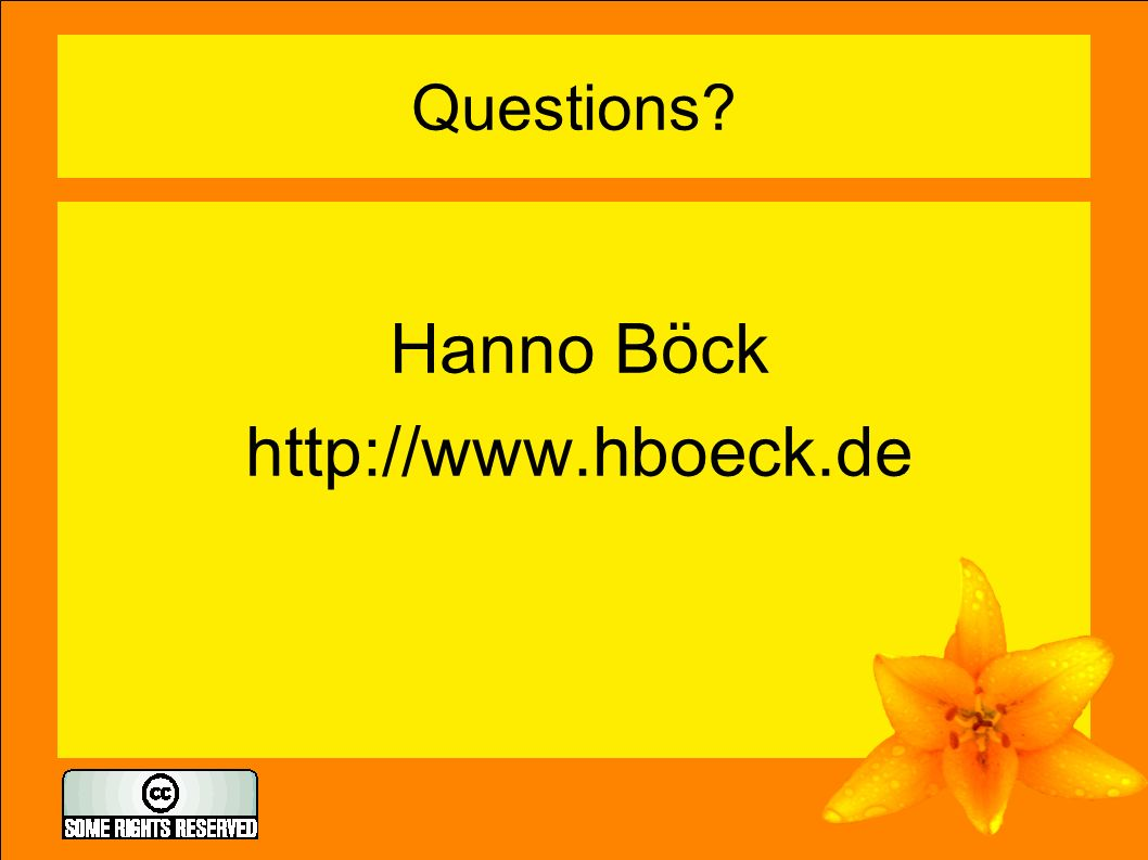 Questions Hanno Böck http://www.hboeck.de