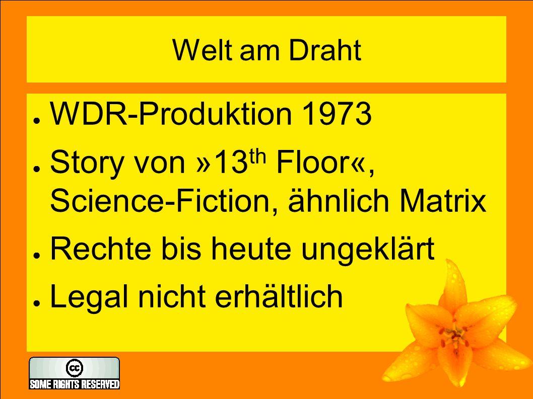 Welt am Draht ● WDR-Produktion 1973 ● Story von »13 th Floor«, Science-Fiction, ähnlich Matrix ● Rechte bis heute ungeklärt ● Legal nicht erhältlich