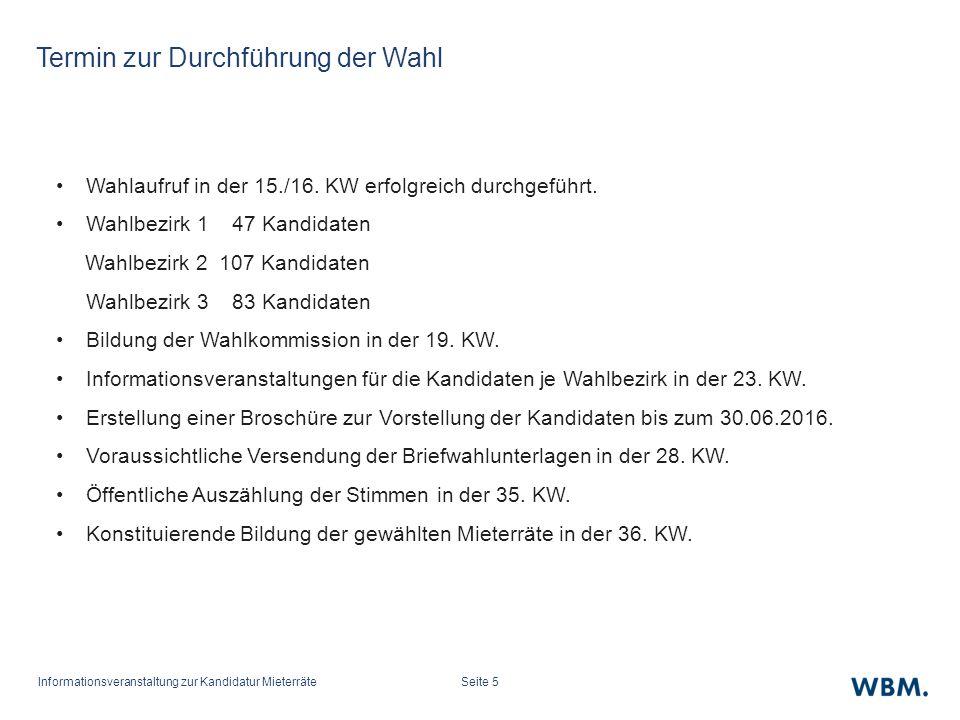 Informationsveranstaltung zur Kandidatur MieterräteSeite 5 Termin zur Durchführung der Wahl Wahlaufruf in der 15./16.