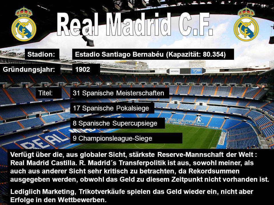 Stadion: Gründungsjahr: Estadio Santiago Bernabéu (Kapazität: 80.354) 1902 Verfügt über die, aus globaler Sicht, stärkste Reserve-Mannschaft der Welt : Real Madrid Castilla.