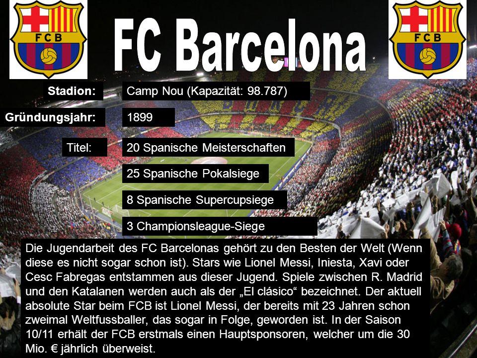 Stadion: Gründungsjahr: Titel: Camp Nou (Kapazität: 98.787) 1899 20 Spanische Meisterschaften 25 Spanische Pokalsiege 8 Spanische Supercupsiege 3 Championsleague-Siege Die Jugendarbeit des FC Barcelonas gehört zu den Besten der Welt (Wenn diese es nicht sogar schon ist).