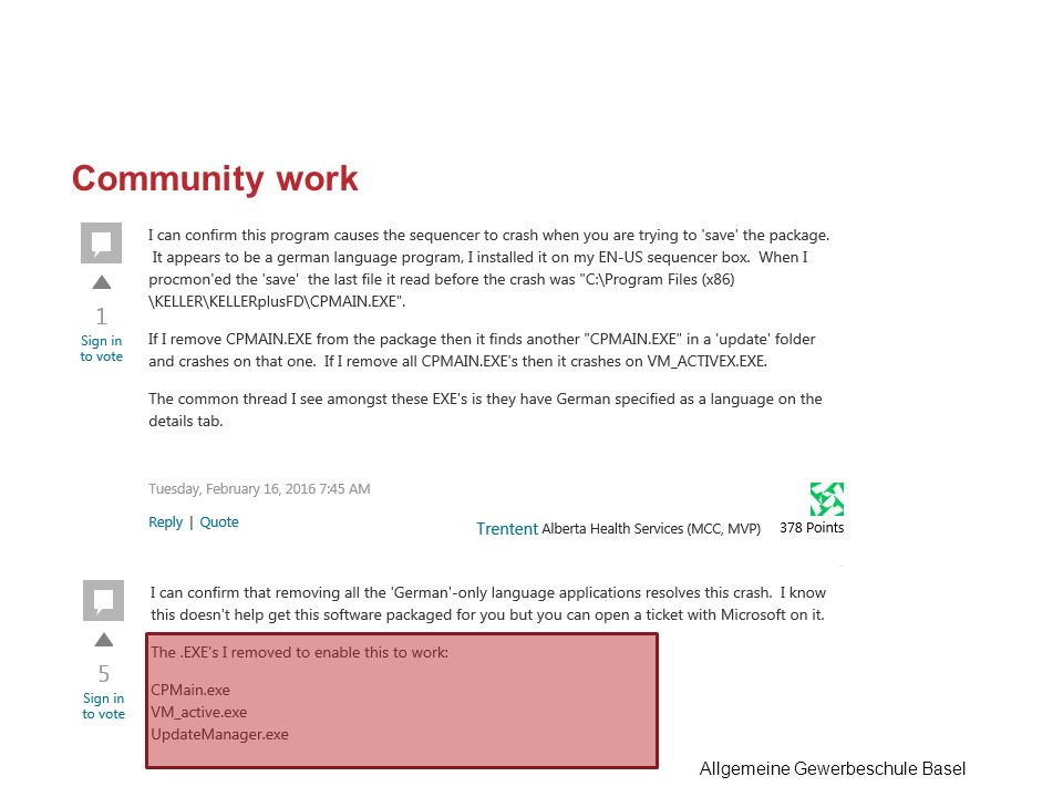 Community work Allgemeine Gewerbeschule Basel