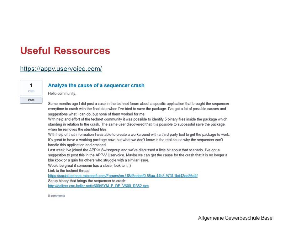 https://appv.uservoice.com/ Useful Ressources Allgemeine Gewerbeschule Basel