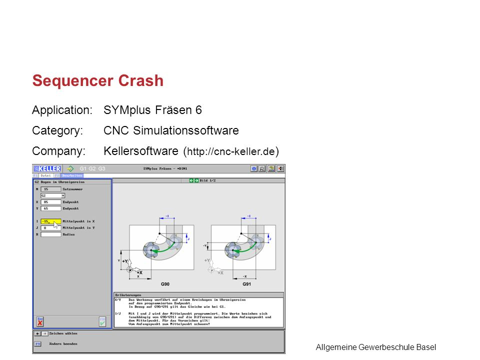 Application:SYMplus Fräsen 6 Category:CNC Simulationssoftware Company:Kellersoftware ( http://cnc-keller.de ) Sequencer Crash Allgemeine Gewerbeschule