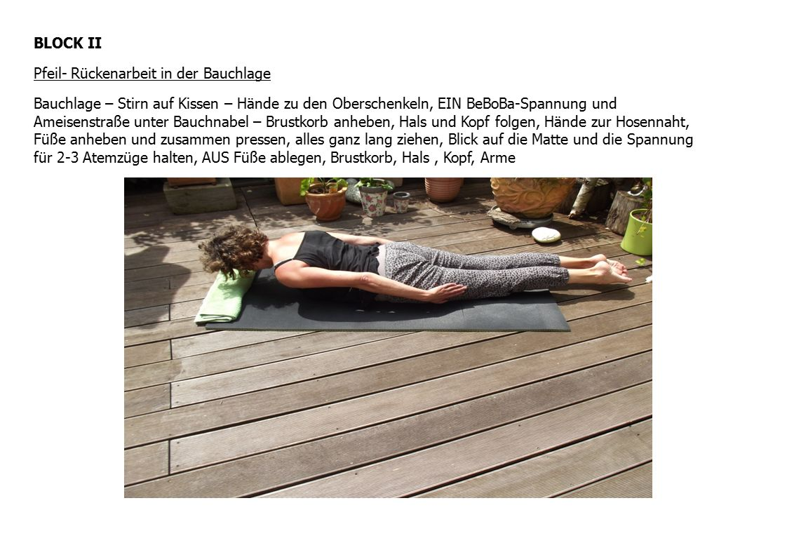 BLOCK II Pfeil- Rückenarbeit in der Bauchlage Bauchlage – Stirn auf Kissen – Hände zu den Oberschenkeln, EIN BeBoBa-Spannung und Ameisenstraße unter B