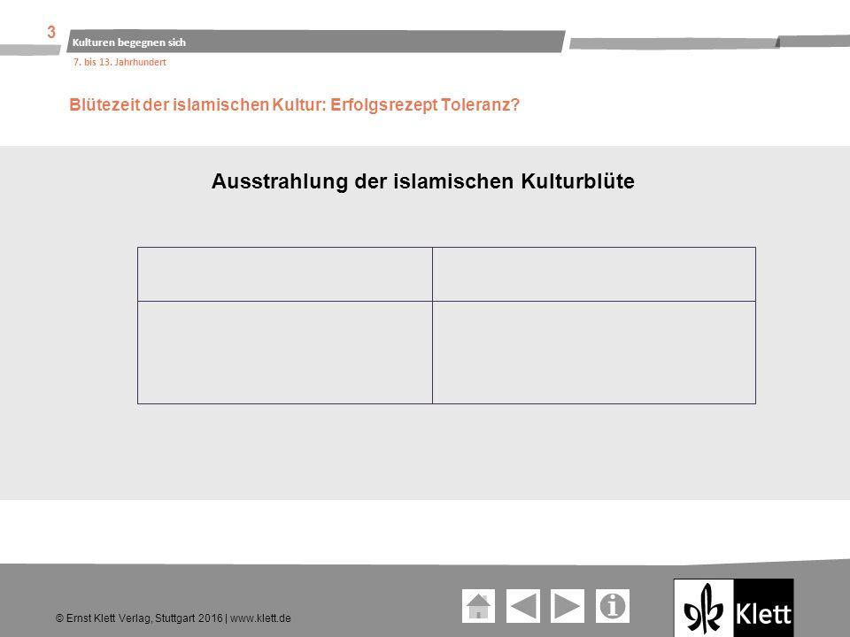 Geschichte und Geschehen Oberstufe Ausstrahlung der islamischen Kulturblüte Geschichte und Geschehen Sekundarstufe I Ernst Klett Verlag GmbH, Stuttgart 2016 Alle Rechte vorbehalten.