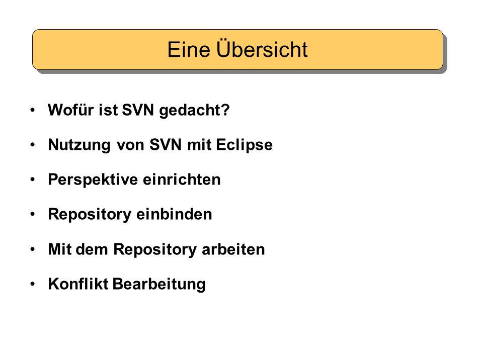 Wofür ist SVN gedacht? Nutzung von SVN mit Eclipse Perspektive einrichten Repository einbinden Mit dem Repository arbeiten Konflikt Bearbeitung Eine Ü