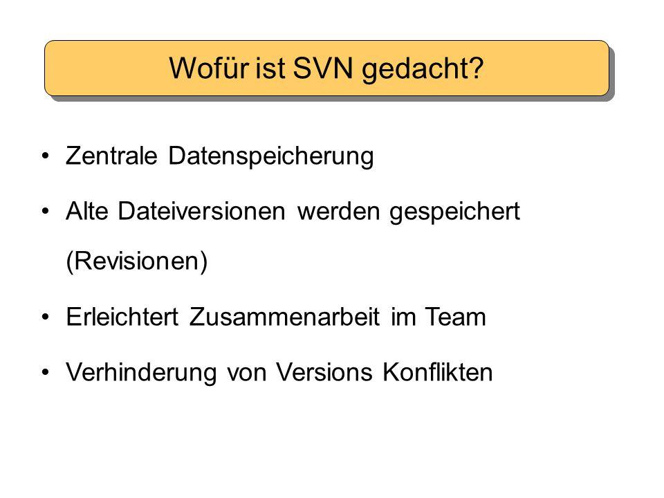 Wofür ist SVN gedacht? Zentrale Datenspeicherung Alte Dateiversionen werden gespeichert (Revisionen) Erleichtert Zusammenarbeit im Team Verhinderung v