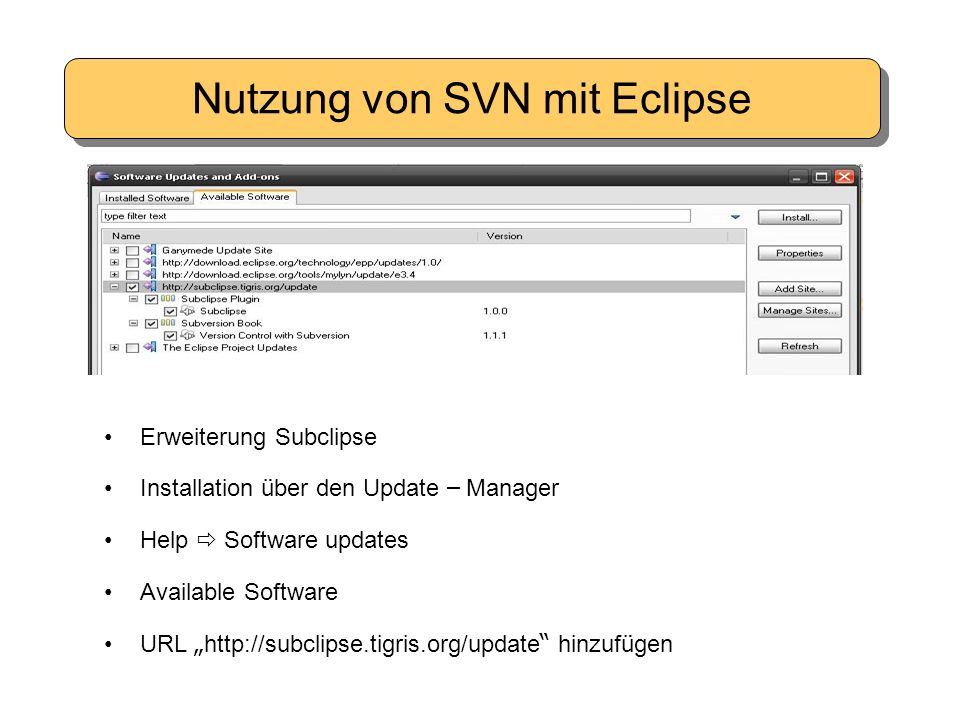 "Nutzung von SVN mit Eclipse Erweiterung Subclipse Installation ü ber den Update – Manager Help  Software updates Available Software URL "" http://subclipse.tigris.org/update hinzuf ü gen"