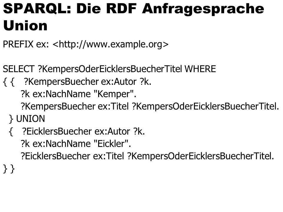 SPARQL: Die RDF Anfragesprache Union PREFIX ex: SELECT ?KempersOderEicklersBuecherTitel WHERE { { ?KempersBuecher ex:Autor ?k.
