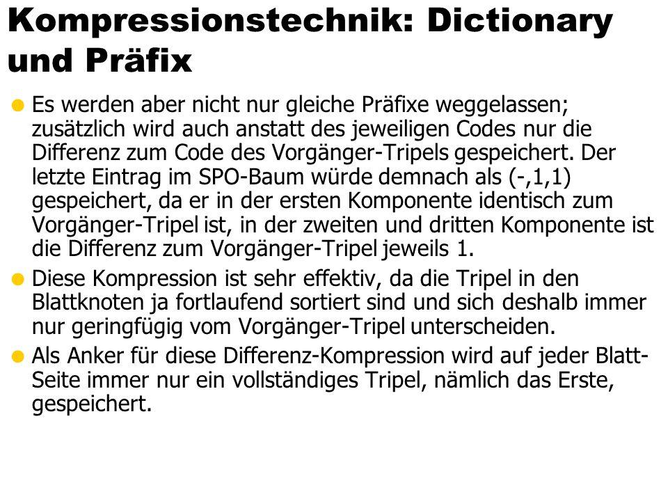 Kompressionstechnik: Dictionary und Präfix  Es werden aber nicht nur gleiche Präfixe weggelassen; zusätzlich wird auch anstatt des jeweiligen Codes nur die Differenz zum Code des Vorgänger-Tripels gespeichert.