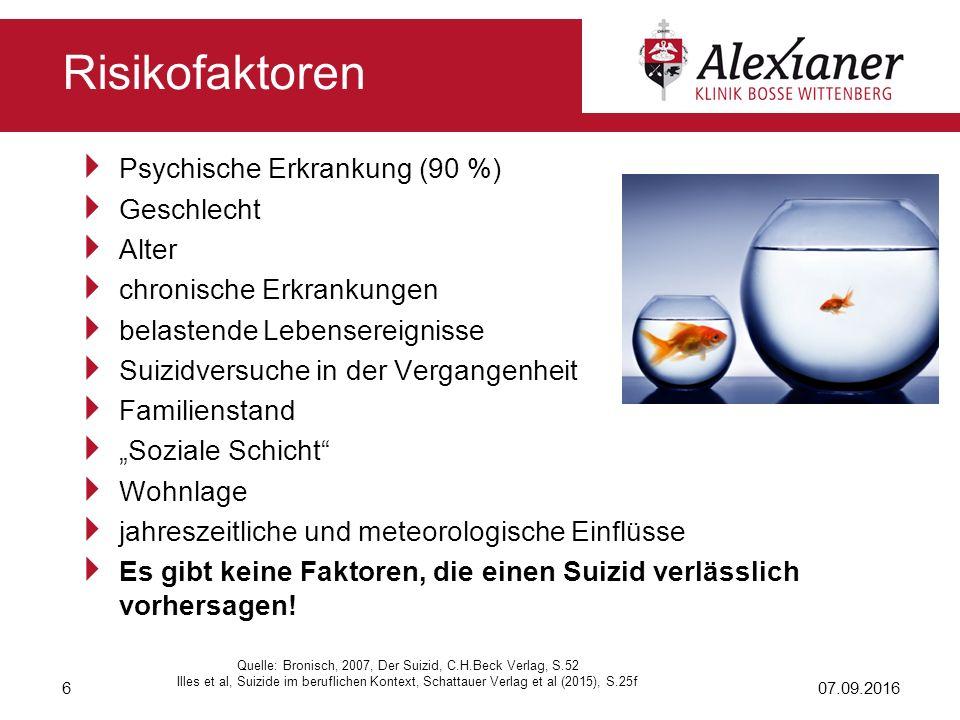  Psychische Erkrankung (90 %)  Geschlecht  Alter  chronische Erkrankungen  belastende Lebensereignisse  Suizidversuche in der Vergangenheit  Fa