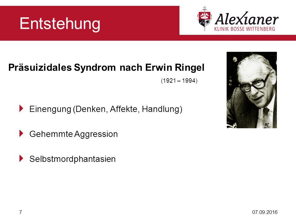 Präsuizidales Syndrom nach Erwin Ringel (1921 – 1994)  Einengung (Denken, Affekte, Handlung)  Gehemmte Aggression  Selbstmordphantasien 07.09.20167