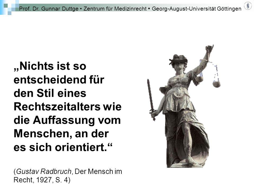 """Prof. Dr. Gunnar Duttge Zentrum für Medizinrecht Georg-August-Universität Göttingen """"Nichts ist so entscheidend für den Stil eines Rechtszeitalters wi"""