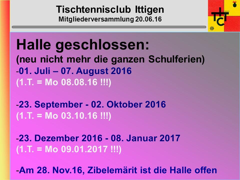 Tischtennisclub Ittigen Mitgliederversammlung 20.06.16 MTTV-/STT-Cup 2016/2017 STT-Cup: gemäss Umfrage -> Ja MTTV-Cup: gemäss Umfrage -> Nein