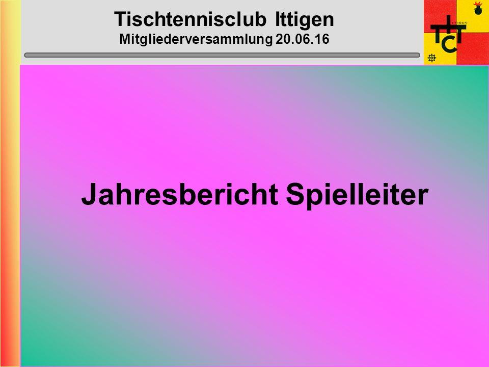 Tischtennisclub Ittigen Mitgliederversammlung 20.06.16 Jahresbericht Spielleiter
