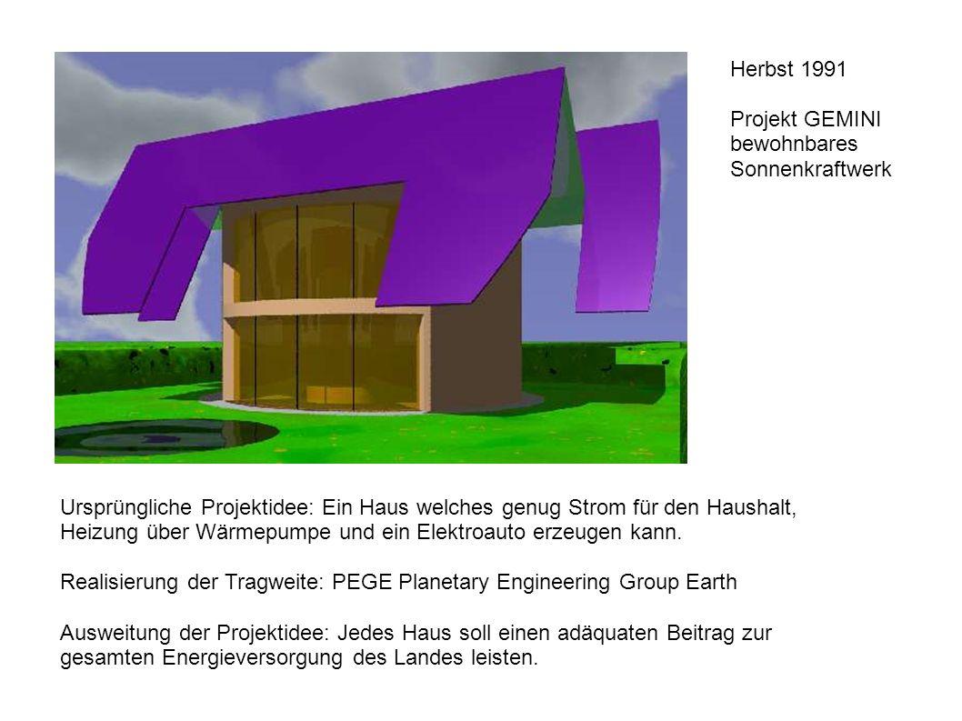 Herbst 1991 Projekt GEMINI bewohnbares Sonnenkraftwerk Ursprüngliche Projektidee: Ein Haus welches genug Strom für den Haushalt, Heizung über Wärmepumpe und ein Elektroauto erzeugen kann.