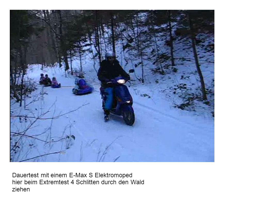 Dauertest mit einem E-Max S Elektromoped hier beim Extremtest 4 Schlitten durch den Wald ziehen