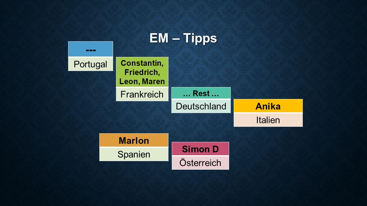 EM – Tipps --- Portugal Simon D Österreich Constantin, Friedrich, Leon, Maren Frankreich … Rest … Deutschland Marlon Spanien Anika Italien