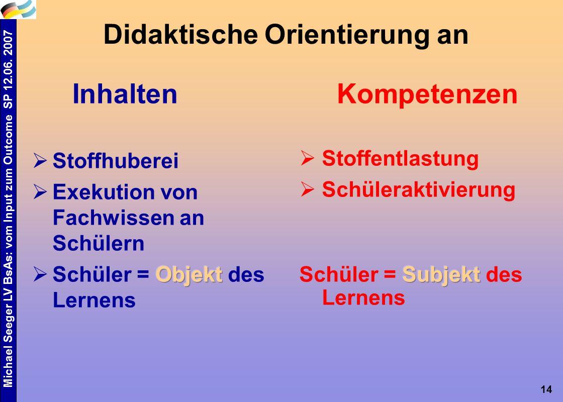 Michael Seeger LV BsAs: vom Input zum Outcome SP 12.06. 2007 14 Didaktische Orientierung an InhaltenKompetenzen