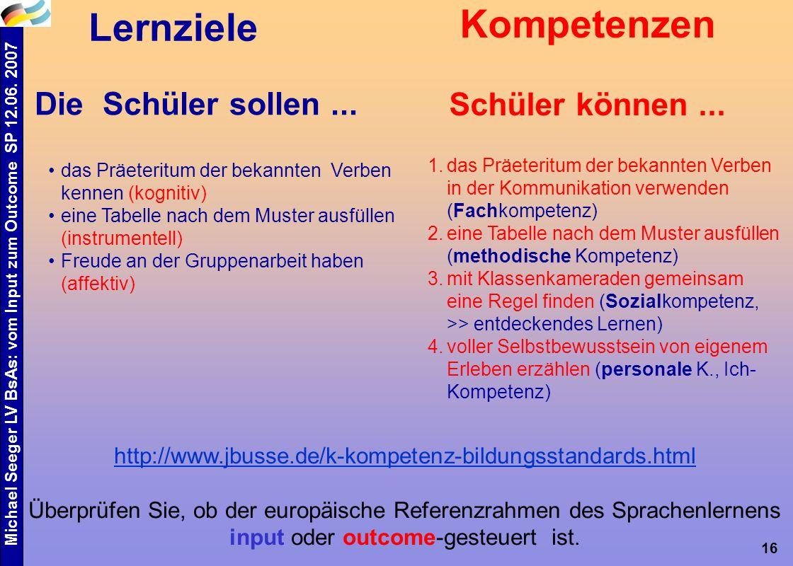 Michael Seeger LV BsAs: vom Input zum Outcome SP 12.06. 2007 16 alt - neu das Präeteritum der bekannten Verben kennen (kognitiv) eine Tabelle nach dem