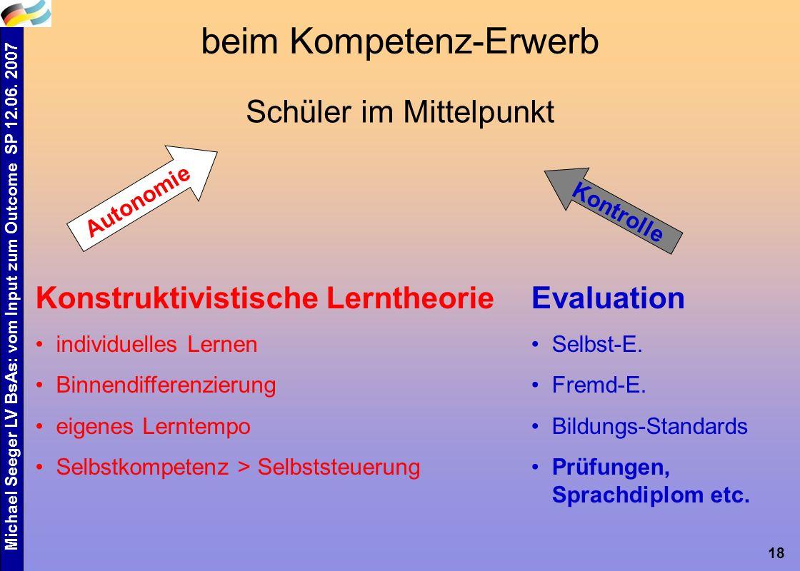 Michael Seeger LV BsAs: vom Input zum Outcome SP 12.06. 2007 18 beim Kompetenz-Erwerb Schüler im Mittelpunkt Konstruktivistische Lerntheorie individue