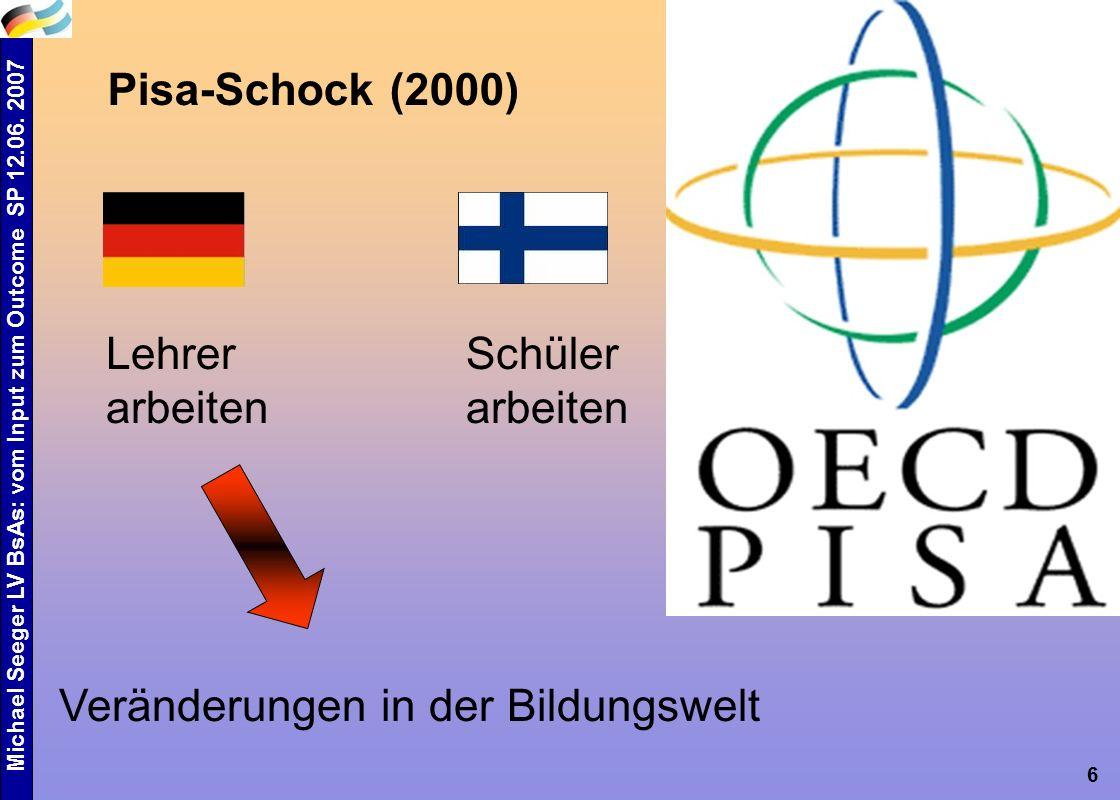 6 Pisa-Schock (2000) Veränderungen in der Bildungswelt Schüler arbeiten Lehrer arbeiten