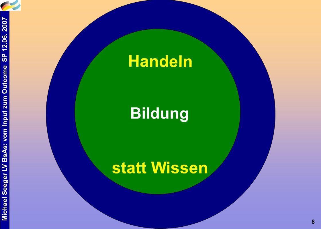Michael Seeger LV BsAs: vom Input zum Outcome SP 12.06. 2007 8 Bildung Handeln statt Wissen