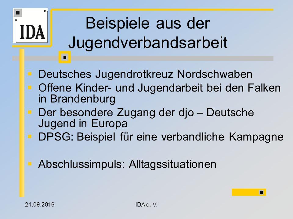 21.09.2016IDA e. V. Beispiele aus der Jugendverbandsarbeit  Deutsches Jugendrotkreuz Nordschwaben  Offene Kinder- und Jugendarbeit bei den Falken in