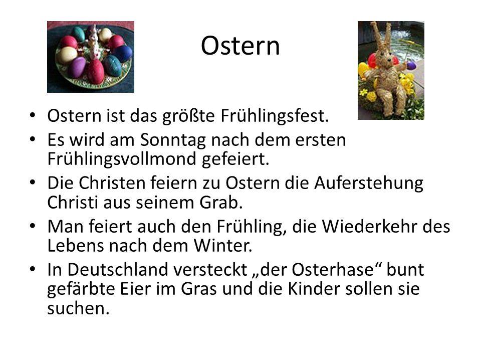 Ostern Ostern ist das größte Frühlingsfest. Es wird am Sonntag nach dem ersten Frühlingsvollmond gefeiert. Die Christen feiern zu Ostern die Aufersteh