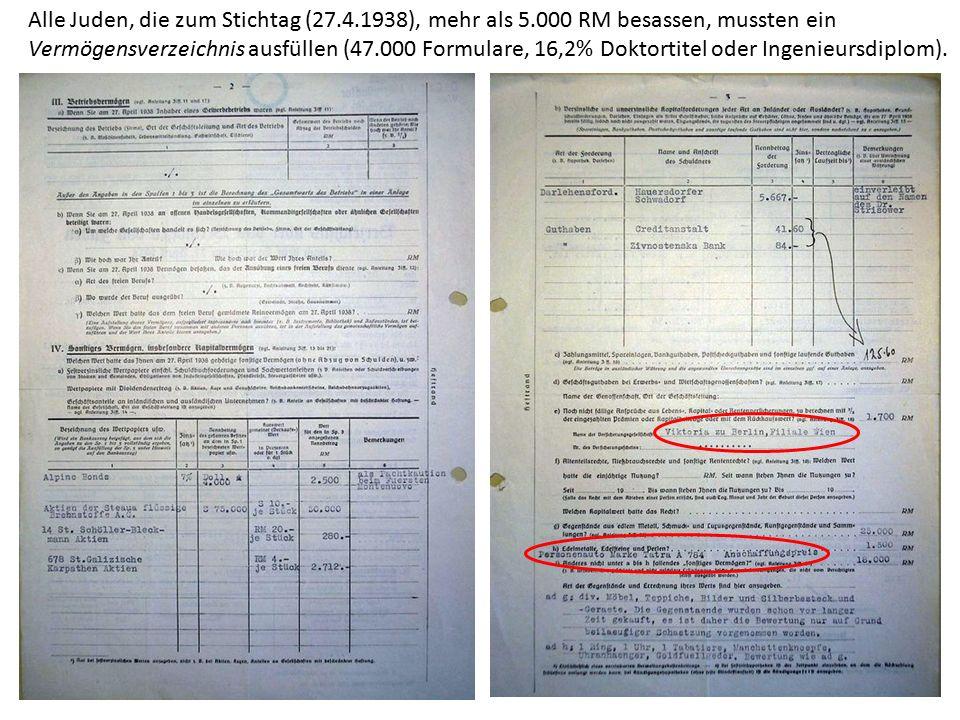 Alle Juden, die zum Stichtag (27.4.1938), mehr als 5.000 RM besassen, mussten ein Vermögensverzeichnis ausfüllen (47.000 Formulare, 16,2% Doktortitel oder Ingenieursdiplom).