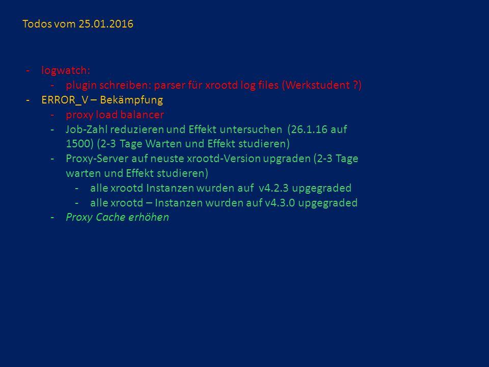 Todos vom 25.01.2016 -logwatch: -plugin schreiben: parser für xrootd log files (Werkstudent ) -ERROR_V – Bekämpfung -proxy load balancer -Job-Zahl reduzieren und Effekt untersuchen (26.1.16 auf 1500) (2-3 Tage Warten und Effekt studieren) -Proxy-Server auf neuste xrootd-Version upgraden (2-3 Tage warten und Effekt studieren) -alle xrootd Instanzen wurden auf v4.2.3 upgegraded -alle xrootd – Instanzen wurden auf v4.3.0 upgegraded -Proxy Cache erhöhen