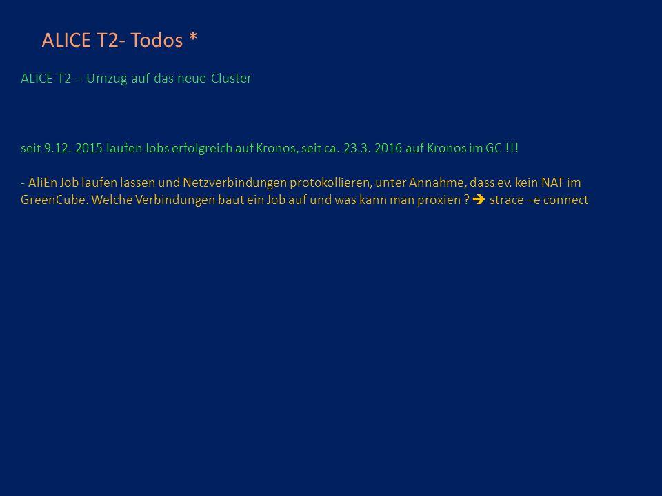 ALICE T2- Todos * ALICE T2 – Umzug auf das neue Cluster seit 9.12.