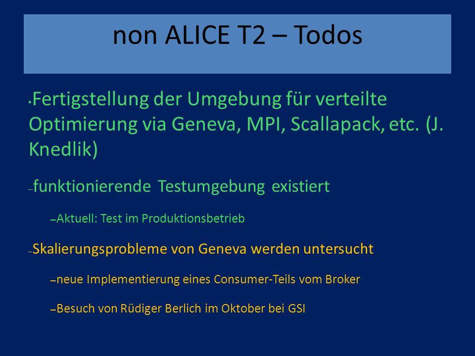 non ALICE T2 – Todos Fertigstellung der Umgebung für verteilte Optimierung via Geneva, MPI, Scallapack, etc.