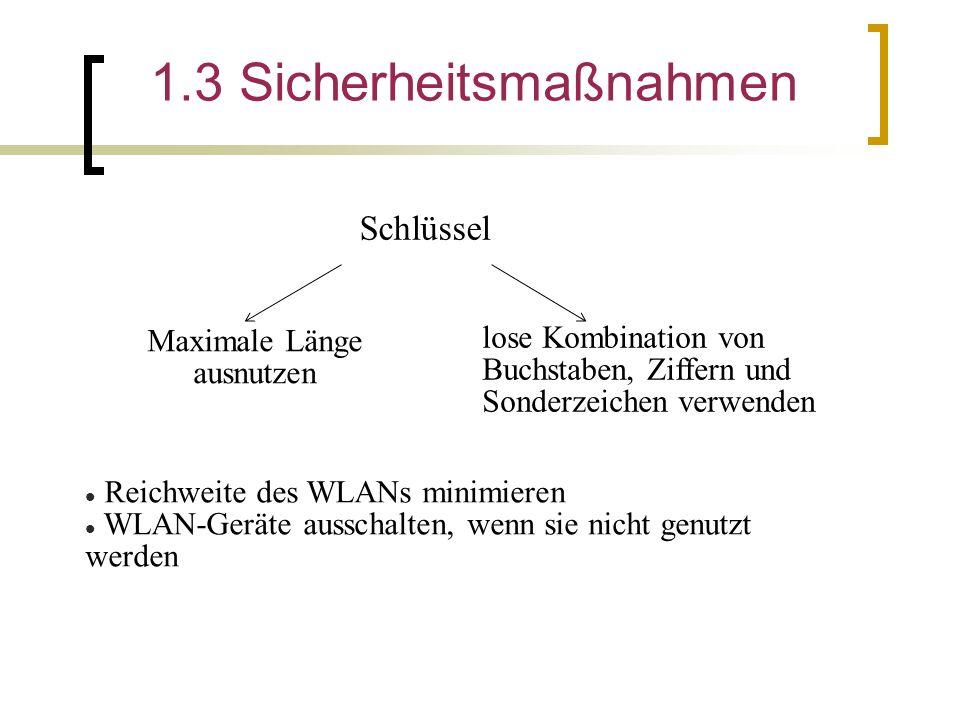 1.3 Sicherheitsmaßnahmen Schlüssel Maximale Länge ausnutzen lose Kombination von Buchstaben, Ziffern und Sonderzeichen verwenden Reichweite des WLANs minimieren WLAN-Geräte ausschalten, wenn sie nicht genutzt werden