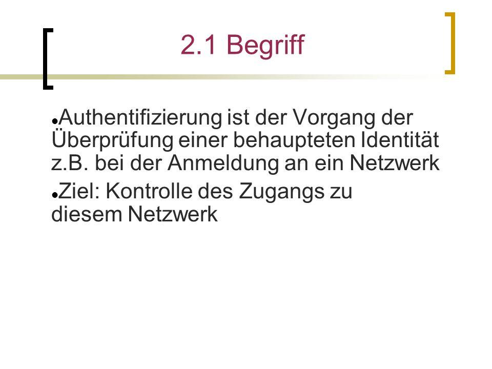 2.1 Begriff Authentifizierung ist der Vorgang der Überprüfung einer behaupteten Identität z.B.