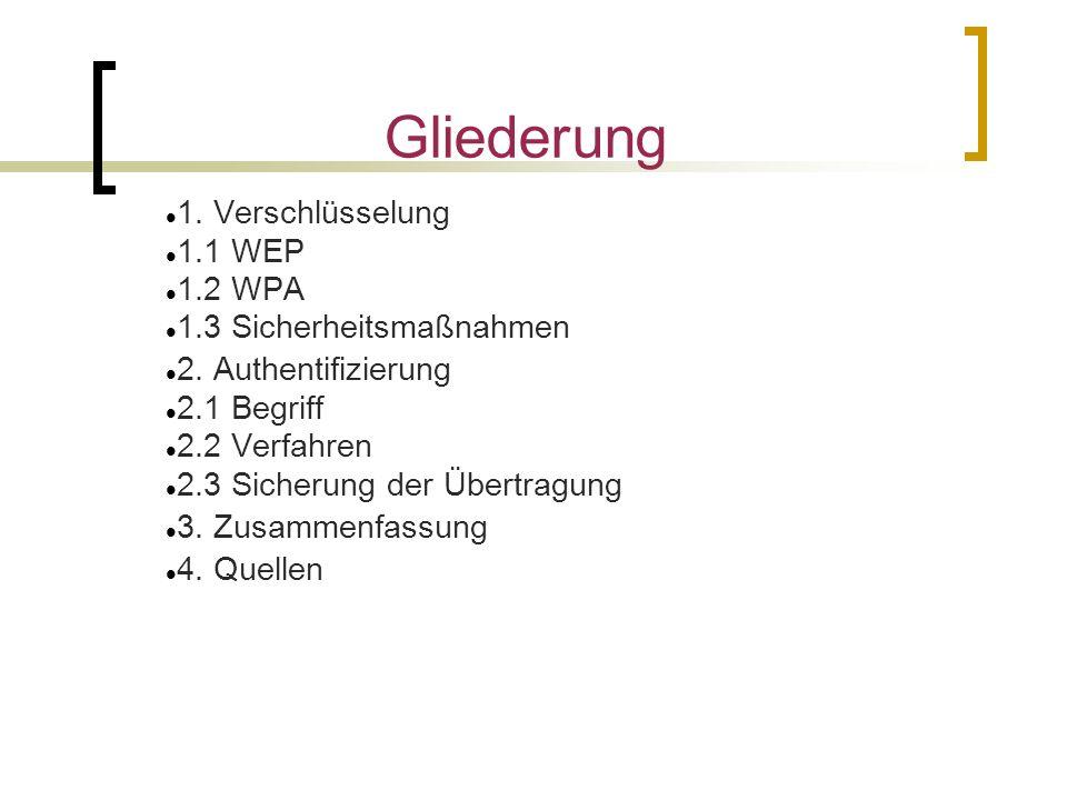 Gliederung 1. Verschlüsselung 1.1 WEP 1.2 WPA 1.3 Sicherheitsmaßnahmen 2.