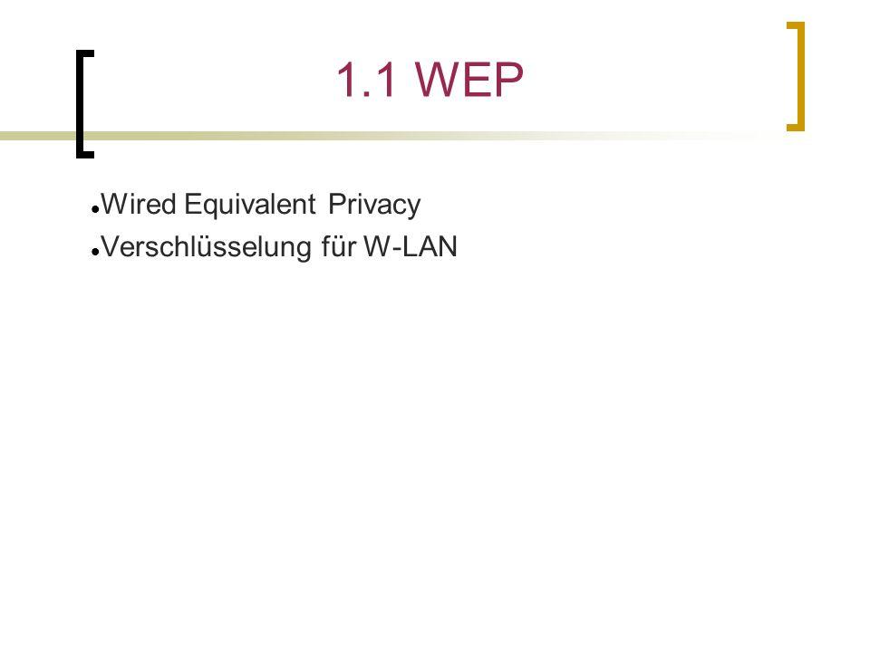 1.1 WEP Wired Equivalent Privacy Verschlüsselung für W-LAN