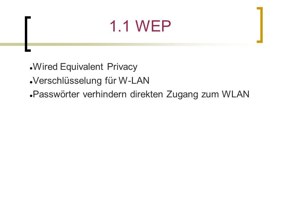 1.1 WEP Wired Equivalent Privacy Verschlüsselung für W-LAN Passwörter verhindern direkten Zugang zum WLAN 104 Bit - kleine Übertragungsrate - etwas sicherer - 128 Bit-Schlüssel 40 Bit - für private Netzwerke - sehr unsicher - 64 Bit-Schlüssel Verschlüsselung mit