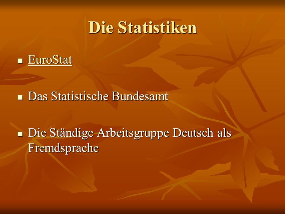 Die Statistiken EuroStat EuroStat EuroStat Das Statistische Bundesamt Das Statistische Bundesamt Die Ständige Arbeitsgruppe Deutsch als Fremdsprache D