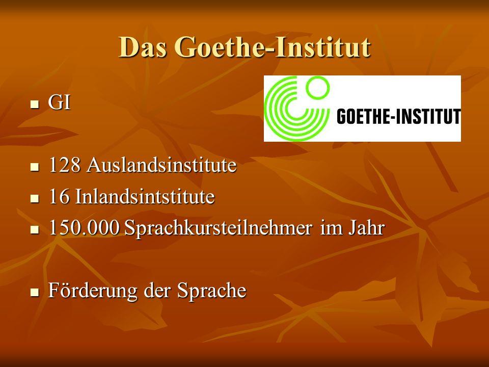 Das Goethe-Institut GI GI 128 Auslandsinstitute 128 Auslandsinstitute 16 Inlandsintstitute 16 Inlandsintstitute 150.000 Sprachkursteilnehmer im Jahr 150.000 Sprachkursteilnehmer im Jahr Förderung der Sprache Förderung der Sprache