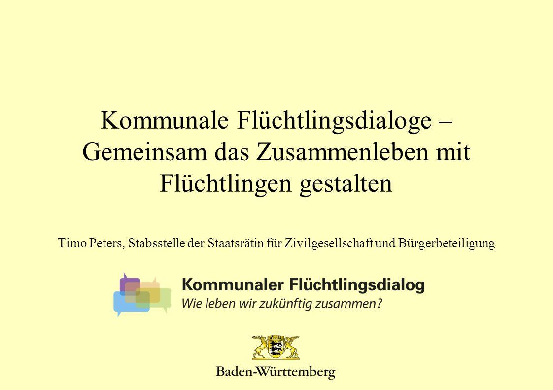 Kommunale Flüchtlingsdialoge – Gemeinsam das Zusammenleben mit Flüchtlingen gestalten Timo Peters, Stabsstelle der Staatsrätin für Zivilgesellschaft u