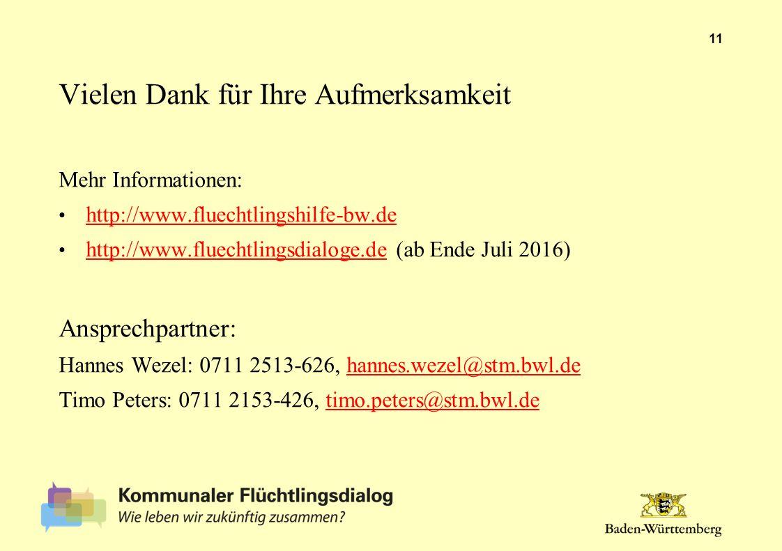 Vielen Dank für Ihre Aufmerksamkeit Mehr Informationen: http://www.fluechtlingshilfe-bw.de http://www.fluechtlingsdialoge.de (ab Ende Juli 2016) http://www.fluechtlingsdialoge.de Ansprechpartner: Hannes Wezel: 0711 2513-626, hannes.wezel@stm.bwl.dehannes.wezel@stm.bwl.de Timo Peters: 0711 2153-426, timo.peters@stm.bwl.detimo.peters@stm.bwl.de 11