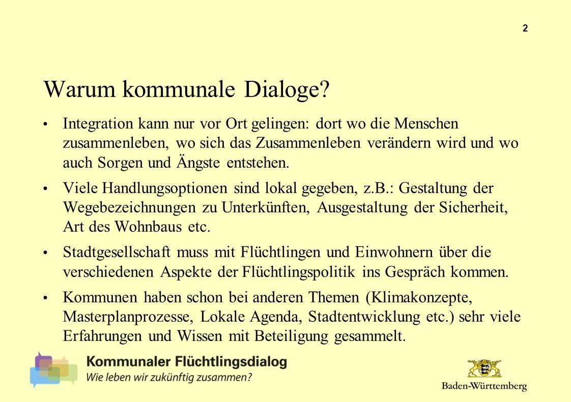 Warum kommunale Dialoge? Integration kann nur vor Ort gelingen: dort wo die Menschen zusammenleben, wo sich das Zusammenleben verändern wird und wo au